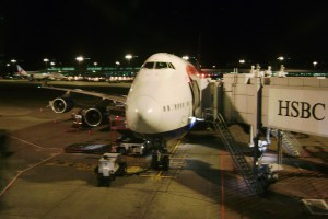 A British Airways Jumbo Jet on the tarmac at Singapore's Changi Airport.