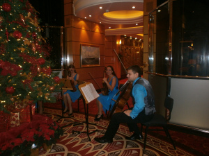 Lush and langourous; the string quartet performing in the Grand Lobby